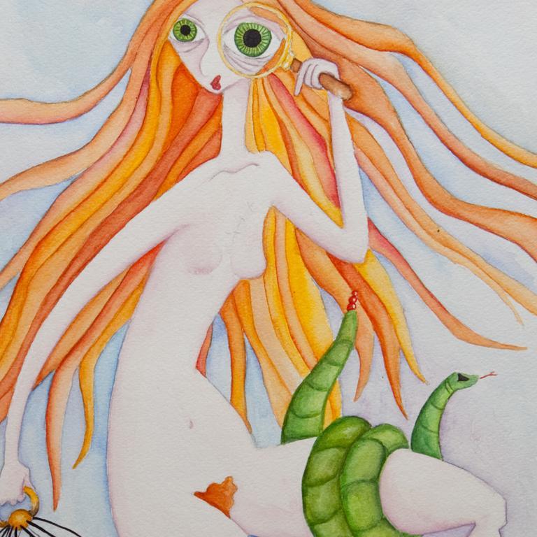 print acuarela A4 Lilith detalle