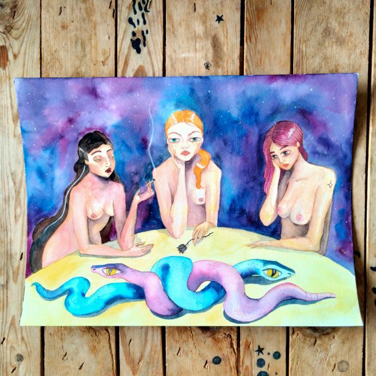 Acuarela sobre papel- brujas y serpiente, detalle