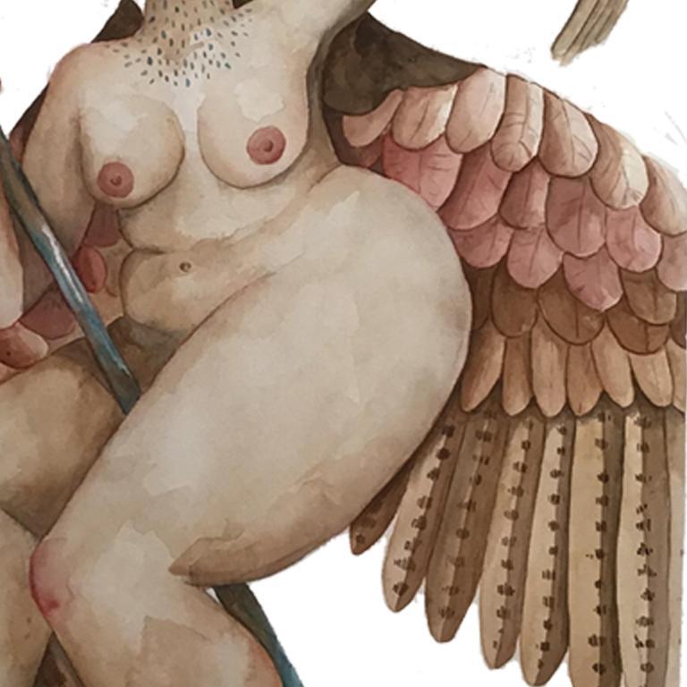 Detalle del muslo y la punta de las plumas