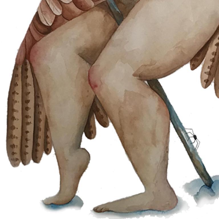 Detalle las piernas y punta del báculo, la égida