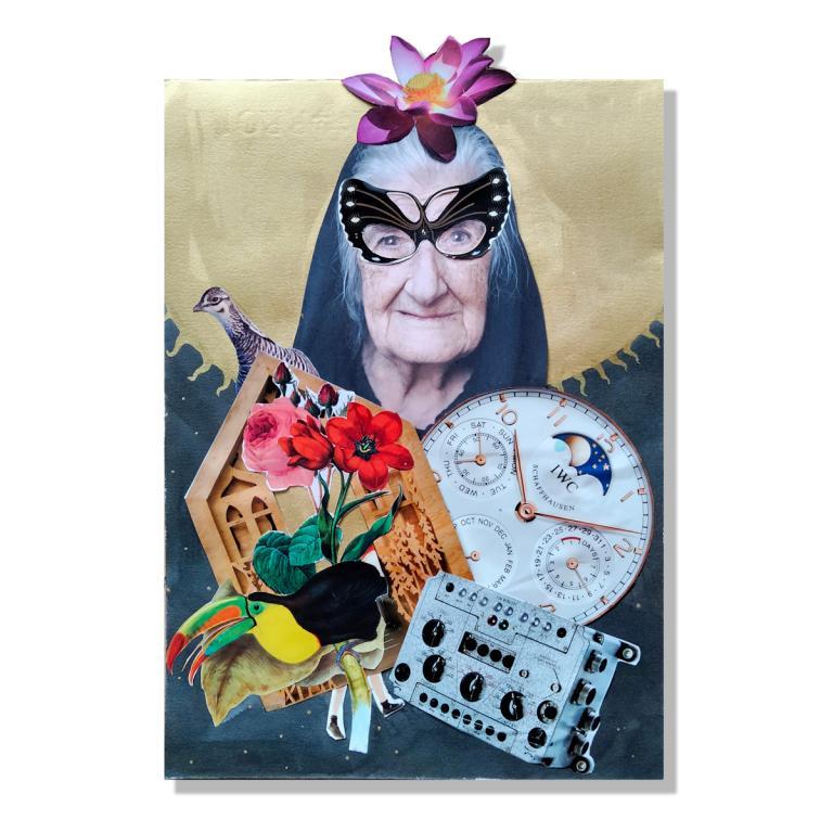 Un collage muestra a una anciana con mantilla, ojos de mariposa y reloj